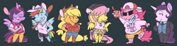 Size: 1729x454 | Tagged: safe, artist:chocodile, applejack, fluttershy, pinkie pie, rainbow dash, rarity, twilight sparkle, alicorn, earth pony, pegasus, unicorn, anthro, plantigrade anthro, alternate hairstyle, alternative cutie mark placement, applejack's hat, arm behind back, arm behind head, armpit hair, armpits, baseball bat, belt, black background, book, boots, bowtie, butch, cap, clothes, cowboy hat, cup, drink, ear piercing, earring, eyeshadow, female, frat, freckles, glasses, grin, group, hair over eyes, hand on hip, hands on hip, hat, hay stalk, hippie, jacket, jewelry, leg hair, lidded eyes, lip piercing, looking at you, makeup, mane six, mare, necklace, necktie, open mouth, pants, peace symbol, piercing, sandals, shirt, shirt around waist, shoes, short hair, shorts, simple background, smiling, solo cup, spread wings, straw in mouth, suit, sunglasses, sweater, sweater vest, t-shirt, tail, tattoo, text on clothing, tie dye, tomboy, tongue out, twilight sparkle (alicorn), wings