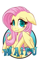 Size: 825x1275 | Tagged: safe, artist:hobbes-maxwell, fluttershy, pegasus, pony, badge, blushing, female, floppy ears, heart eyes, simple background, smiling, solo, waifu, waifu badge, white background, wingding eyes
