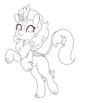 Size: 5000x6000   Tagged: safe, artist:chedx, autumn blaze, kirin, bipedal, female, lineart, simple background, sketch, solo, standing, standing on one leg, white background