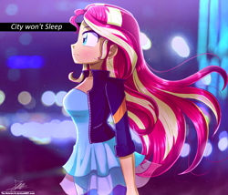 Size: 1190x1020 | Tagged: safe, artist:the-butch-x, sunset shimmer, equestria girls, beautiful, breasts, busty sunset shimmer, city, cityscape, clothes, female, jacket, pants, pretty, solo, windswept hair