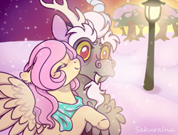 Size: 2812x2132 | Tagged: safe, artist:sakurainu2715, discord, fluttershy, pony, clothes, discoshy, female, kiss on the cheek, kissing, lamppost, male, scarf, shipping, snow, snowfall, straight, tree