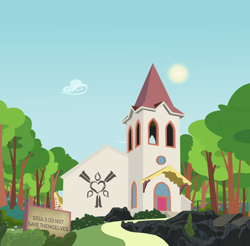 Size: 11526x11362 | Tagged: safe, artist:pencilsparkreignited, oc, background, bush, church, cloud, cult, no pony, path, ponyville, rock, rock formation, scenery, show accurate, sign, sky, sun, symbol, tree, vector