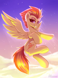 Size: 1850x2500 | Tagged: safe, artist:shadowreindeer, spitfire, pegasus, pony, chest fluff, cloud, female, flying, lidded eyes, looking at you, sky, smiling, solo, spread wings, stars, tail, wings