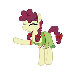 Size: 2356x2267 | Tagged: safe, artist:three uncle, hilly hooffield, earth pony, pony, the hooffields and mccolts, background pony, bow, clothes, cute, eyes closed, female, hair bow, hooffield family, mare, pigtails, simple background, smiling, solo, transparent background, vector