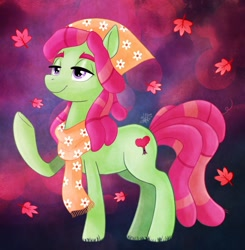 Size: 1280x1308 | Tagged: safe, artist:thepipefox, tree hugger, earth pony, pony, autumn leaves, female, leaf, mare, raised hoof, solo