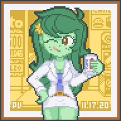 Size: 768x768 | Tagged: safe, artist:branewashpv, wallflower blush, equestria girls, brown eyes, clothes, cute, drink, flower, flower in hair, flowerbetes, green hair, jacket, mlem, one eye closed, pepsi, pixel art, silly, soda, solo, tongue out, wink