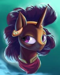 Size: 1280x1600   Tagged: safe, artist:rocket-lawnchair, saffron masala, pony, unicorn, bandana, ear piercing, earring, female, jewelry, mare, piercing, smiling