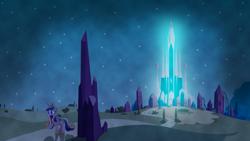 Size: 1280x720 | Tagged: safe, artist:3luk, artist:frownfactory, artist:laszlvfx, edit, princess cadance, alicorn, pony, the crystal empire, glowing eyes, jewelry, night, regalia, stars, wallpaper, wallpaper edit
