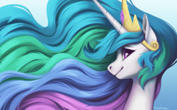 Size: 4961x3068 | Tagged: safe, artist:taytinabelle, princess celestia, alicorn, pony, bust, crown, cute, cutelestia, ear fluff, female, gradient background, hair, i really like her mane, jewelry, looking at you, mare, portrait, profile, regalia, side view, smiling, solo, wavy mane