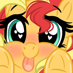 Size: 2000x2000 | Tagged: safe, artist:emberslament, sunset shimmer, pony, unicorn, :p, blushing, cute, daaaaaaaaaaaw, female, heart eyes, hnnng, licking, licking screen, looking at you, mare, shimmerbetes, solo, tongue out, underhoof, window licking, wingding eyes