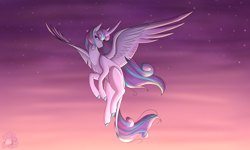 Size: 5000x3000 | Tagged: safe, artist:littlepudel, princess flurry heart, alicorn, pony, curved horn, female, flying, horn, leonine tail, mare, older, older flurry heart, simple background, sky, solo, spread wings, stars, wings