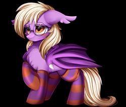 Size: 3480x2948   Tagged: safe, artist:pridark, oc, oc only, oc:pinkfull night, bat pony, pony, bat pony oc, bat wings, blushing, chest fluff, clothes, fangs, female, floppy ears, glasses, patreon, patreon reward, shy, simple background, socks, solo, striped socks, teenager, transparent background, wings