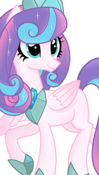 Size: 1080x1920 | Tagged: safe, artist:sallyso, princess flurry heart, alicorn, pony, alternate hairstyle, blank flank, crown, female, hoof shoes, jewelry, mare, older, older flurry heart, raised hoof, raised leg, regalia, simple background, solo, white background