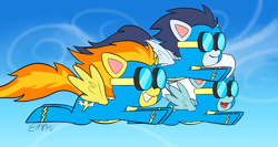 Size: 1000x533 | Tagged: safe, artist:empyu, fleetfoot, soarin', spitfire, pegasus, pony, my little pony: pony life, pony life, 45 minute art challenge, clothes, cloud, female, flying, g4 to g4.5, goggles, male, mare, open mouth, sky, stallion, trio, uniform, wonderbolts, wonderbolts uniform