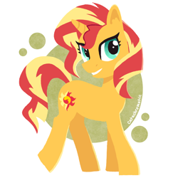 Size: 1200x1200 | Tagged: safe, artist:catachromatic, derpibooru exclusive, sunset shimmer, pony, unicorn, abstract background, colored, cute, female, flat colors, happy, mare, shimmerbetes, smiling, solo