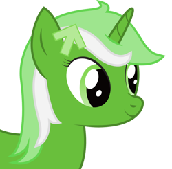 Size: 1012x996 | Tagged: safe, artist:joey, edit, oc, oc only, oc:upvote, pony, unicorn, derpibooru, arrow, bust, cropped, derpibooru ponified, female, horn, icon, mare, meta, ponified, portrait, side view, simple background, smiling, solo, transparent background, upscaled, waifu2x