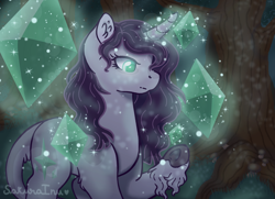 Size: 2878x2084   Tagged: safe, artist:sakurainu2715, oc, oc:moon dust, pony, unicorn, crystal, female, magic, mare, offspring, parent:king sombra, parent:twilight sparkle, parents:twibra, solo