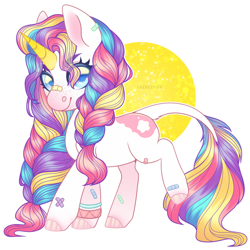 Size: 900x900 | Tagged: safe, artist:sadelinav, oc, oc only, pony, unicorn, bandaid, colored horn, female, horn, mare, simple background, solo, transparent background