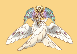 Size: 3376x2368 | Tagged: safe, artist:orphicdove, princess celestia, seraph, angel, angelestia, biblically accurate angels, christianity, multiple eyes, multiple wings, solo, species swap
