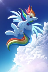 Size: 2000x3000 | Tagged: safe, artist:ask-colorsound, rainbow dash, pegasus, pony, cloud, crepuscular rays, ear fluff, female, flying, high res, mare, sky, solo, spread wings, wings