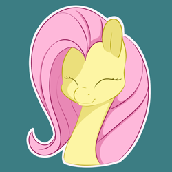 Size: 1280x1280 | Tagged: safe, artist:aquaticvibes, fluttershy, pony, bust, eyes closed, female, green background, mare, outline, portrait, simple background, smiling, solo, three quarter view, white outline
