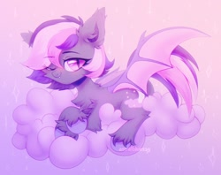 Size: 1900x1502   Tagged: safe, artist:astralblues, oc, oc only, oc:midnight mist, bat pony, pony, bat pony oc, bat wings, chest fluff, cloud, ear fluff, fangs, fluffy, hoof fluff, leg fluff, looking at you, lying down, one eye closed, pink eyes, solo, wings, wink, winking at you