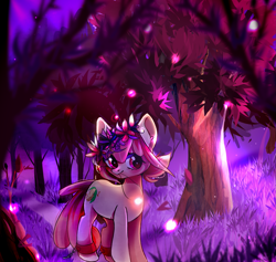 Size: 2111x2000 | Tagged: safe, artist:vurrul, oc, oc only, oc:hopple scotch, earth pony, pony, ankle cuffs, chains, commission, cuffs, female, flower, flower in hair, forest, forest background, grass, hair accessory, jewelry, looking sideways, mare, mouth hold, necklace, night, outdoors, pigtails, road, sky, solo, tree, ych result