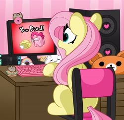 Size: 4096x3959   Tagged: safe, artist:kittyrosie, fluttershy, pinkie pie, pegasus, pony, among us, chair, computer, crying, digital art, female, gamershy, mare, missing cutie mark, nintendo switch, pusheen, solo