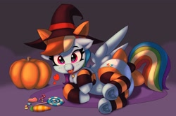 Size: 4096x2719 | Tagged: safe, artist:pabbley, rainbow dash, pegasus, pony, belly button, bow, candy, clothes, collar, cute, cute little fangs, dashabetes, fake ears, fangs, floating heart, food, frog (hoof), halloween, hat, heart, holiday, leg warmers, looking at you, open mouth, pabbley is trying to murder us, pumpkin, smiling, socks, solo, striped socks, tail, tail bow, underhoof, wings, witch hat