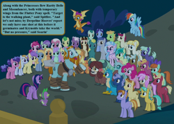 Size: 1008x720 | Tagged: safe, edit, edited screencap, screencap, amber grain, applejack, auburn vision, berry blend, berry bliss, berry sweet, bifröst, citrine spark, clever musings, dawnlighter, end zone, fire flicker, fire quacker, fluttershy, fuchsia frost, gallus, golden crust, goldy wings, huckleberry, lilac swoop, loganberry, midnight snack (character), night view, november rain, ocarina green, ocellus, peppe ronnie, peppermint goldylinks, pinkie pie, rainbow dash, rarity, rockhoof, sandbar, silverstream, slate sentiments, smolder, spike, strawberry scoop, sugar maple, summer breeze, summer meadow, tune-up, twilight sparkle, violet twirl, yona, alicorn, changedling, changeling, dragon, earth pony, griffon, yak, a rockhoof and a hard place, background pony audience, bow, doctor who, friendship student, hoof wraps, implied derpy, implied moondancer, implied soarin', implied spitfire, male, mane bow, misspeech, school of friendship, speech bubble, the seeds of doom, twilight sparkle (alicorn), winged spike