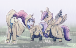 Size: 1368x876 | Tagged: safe, artist:inuhoshi-to-darkpen, apple bloom, scootaloo, sweetie belle, earth pony, pegasus, unicorn, cheek fluff, cutie mark crusaders, ear fluff, eyes closed, hood, one eye closed, open mouth, playing, rain, tongue out, wing fluff