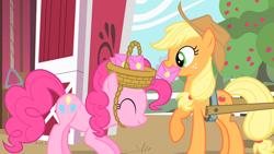 Size: 1920x1080 | Tagged: safe, screencap, applejack, pinkie pie, earth pony, pony, party of one, apple, apple tree, cart, envelope, female, mare, tree