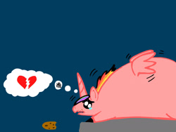 Size: 2048x1536 | Tagged: safe, artist:artmama113, oc, oc only, alicorn, pony, alicorn oc, blue background, cookie, fat, food, heartbreak, horn, male, obese, pictogram, simple background, solo, stallion, teary eyes, wings