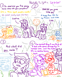 Size: 4779x6013   Tagged: safe, artist:adorkabletwilightandfriends, amethyst star, apple bloom, scootaloo, sparkler, sweetie belle, twilight sparkle, oc, oc:lawrence, oc:trevor, alicorn, earth pony, pegasus, pony, unicorn, comic:adorkable twilight and friends, adorkable, adorkable twilight, carving, cloud, comic, contest, cute, cutie mark crusaders, dork, female, filly, friendship, glasses, halloween, hmm, holiday, humor, innocent, judge, knife, library, male, mare, necktie, outdoors, overcast, pumpkin, silly, sitting, slice of life, stallion, twilight sparkle (alicorn), unamused