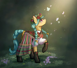 Size: 2566x2292 | Tagged: safe, artist:helmie-d, oc, oc only, oc:karoline skies, earth pony, pony, braid, braided tail, clothes, crepuscular rays, cute, dress, ear fluff, earth pony oc, featured image, female, floral head wreath, flower, folk costume, freckles, high res, looking up, mare, ocbetes, outfit, poland, profile, raised hoof, shoes, skirt, slavic, smiling, solo, standing, sweet dreams fuel, twin braids