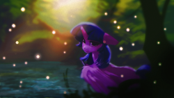 Size: 1920x1080 | Tagged: safe, artist:hierozaki, twilight sparkle, alicorn, floppy ears, looking at you, solo, twilight sparkle (alicorn), water