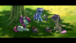 Size: 2560x1440 | Tagged: safe, artist:robsa990, apple bloom, scootaloo, sweetie belle, earth pony, pegasus, pony, unicorn, apple, apple pie, black bars, cutie mark crusaders, dappled sunlight, eating, female, filly, food, lunch, lunchtime, lying down, magic, paper bag, pie, prone, sandwich, telekinesis, tree, under the tree