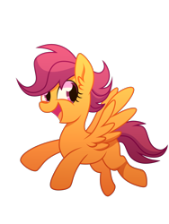Size: 3120x4160 | Tagged: safe, artist:yaaaco, scootaloo, pegasus, pony, blank flank, cute, cutealoo, female, filly, flying, high res, open mouth, scootaloo can fly, simple background, solo, transparent background