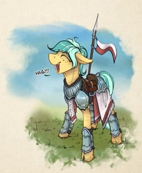 Size: 1600x1948 | Tagged: safe, artist:helmie-d, oc, oc:karoline skies, earth pony, armor, female, freckles, happy, mare, poland, sketch