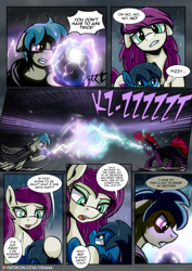Size: 2480x3508 | Tagged: safe, artist:dsana, fizzlepop berrytwist, tempest shadow, oc, oc:fireweed, oc:lullaby dusk, oc:thistledown, earth pony, pegasus, pony, unicorn, comic:a storm's lullaby, cloak, clothes, comic, female, filly, magic, magical artifact, male, mare, stallion, this will end in death, this will end in tears