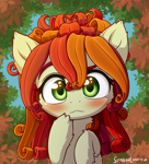 Size: 1600x1760 | Tagged: safe, artist:symbianl, oc, oc only, oc:flower, original species, plant pony, pony, :<, blushing, cute, ocbetes, plant, solo