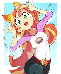Size: 1600x1920 | Tagged: safe, artist:nendo, sunset shimmer, human, equestria girls, legend of everfree, abstract background, animal ears, camp everfree outfits, cute, female, human coloration, humanized, kemonomimi, looking at you, open mouth, shimmerbetes, solo
