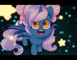 Size: 1145x900 | Tagged: safe, artist:starember, oc, oc only, oc:fleurbelle, alicorn, alicorn oc, bow, chibi, female, hair bow, horn, mare, solo, stars, wingding eyes, wings, yellow eyes