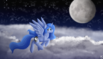 Size: 6321x3612   Tagged: safe, artist:sevenserenity, princess luna, alicorn, pony, cloud, complex background, improvement, moon, night, night sky, painted, redraw, sky, solo, stars