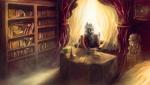 Size: 2584x1457 | Tagged: safe, artist:stdeadra, oc, oc:silver bullet, pegasus, pony, apple, book, bookshelf, curtains, dust, food, jojo's bizarre adventure, lamp, lightning, photo, picture, reading, shade, solo, speedpaint, table