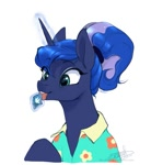 Size: 613x666 | Tagged: safe, artist:rrusha, princess luna, alicorn, pony, between dark and dawn, clothes, cute, female, hair bun, hawaiian shirt, licking, lunabetes, magic, mare, scene interpretation, shirt, simple background, solo, stamp, telekinesis, that pony sure does love the post office, tongue out, white background