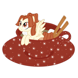 Size: 1700x1700 | Tagged: safe, artist:katelynleeann42, oc, oc:cinnamon miss, pegasus, pony, cup, cup of pony, female, mare, micro, simple background, solo, teacup, transparent background
