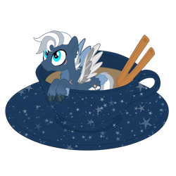 Size: 1700x1700 | Tagged: safe, artist:katelynleeann42, oc, oc:baron, pegasus, pony, amputee, artificial wings, augmented, cup, cup of pony, male, micro, prosthetic limb, prosthetic wing, prosthetics, simple background, solo, stallion, transparent background, wings