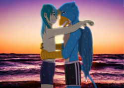Size: 1916x1364 | Tagged: safe, artist:fantasygerard2000, gallus, sandbar, griffon, human, anthro, anthrofied, clothes, embrace, gallbar, gay, humanized, interspecies, looking at each other, male, ocean, partial nudity, ship, shipping, sunset, swimming trunks, tail, topless, wet, wet hair, wings