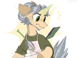 Size: 2000x1500   Tagged: safe, artist:trickate, part of a set, oc, oc only, oc:trickate, pony, unicorn, comic:holding up, clothes, male